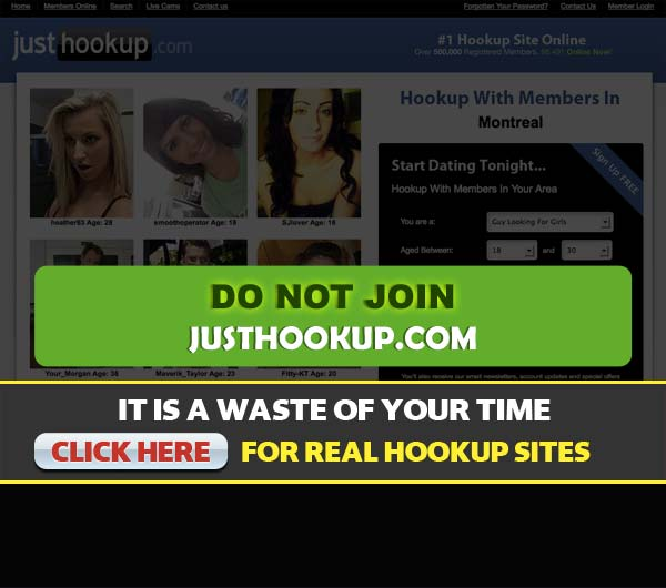 Screen Capture of the site JustHookup.com
