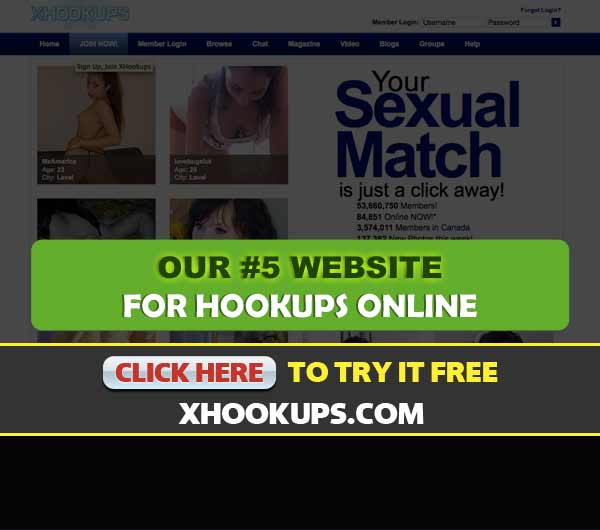 Screen Capture of the site xHookups.com